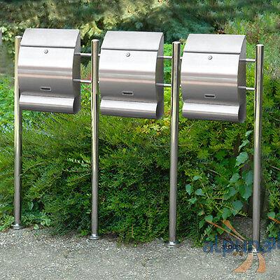 Dreier-Standbriefkasten 3er Edelstahl Briefkasten EMO