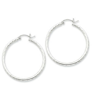 925-Sterling-Silver-Rhodium-Plated-2mm-x-35mm-Diamond-Cut-Polished-Hoop-Earrings