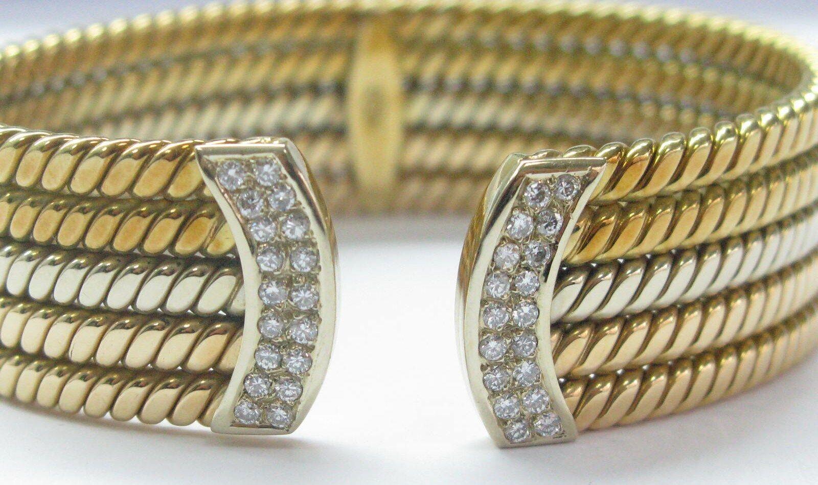 18Kt Tri color Solid gold & NATURAL Diamond Cuff Bracelet .85CT 19.6mm WIDE
