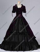 Victorian Renaissance Gothic Velvet Prom Gown Dress Steampunk Costume PURPLE 061