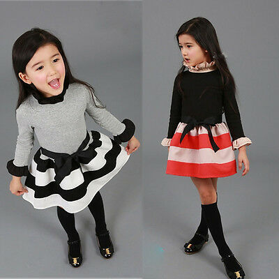 Korean Baby Girls Princess Polka Dot Plaid Long Sleeve Party Formal Fancy Dress