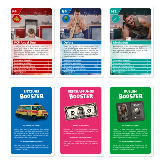 Das Drogen Quartett Rauschgift Kartenspiel Party Quartettspiel Drogenquartett