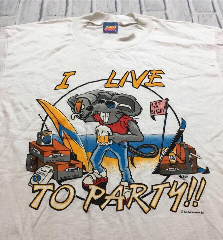80s VTG I LIVE TO PARTY Rat Fink Mouse BEER Beach SURF Skate T Shirt Soft XL USA