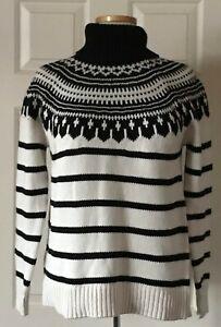 $155 NWT Womens Lauren Ralph Lauren Cotton Blend Knit Turtleneck Sweater Cream