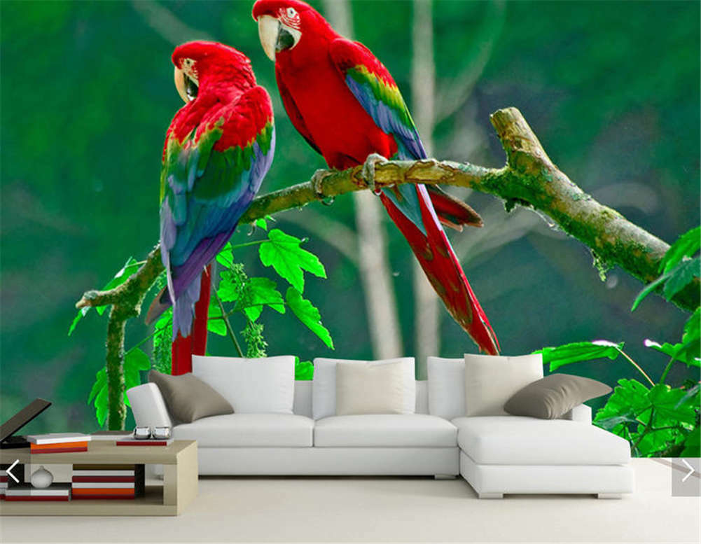 Two Parrots On Branch Full Wall Mural Photo Wallpaper Printing 3D Decor Kid Home