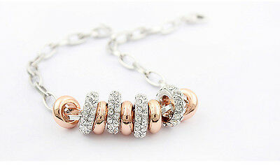 Rose Gold Plated Made With Swarovski Crystal Charm Ring Women Chain Bracelet T81