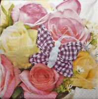 4 x  single PAPER NAPKINS  flowers  roses butterfly  DECOUPAGE AND CRAFT 209