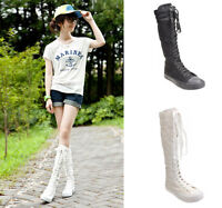 New Hot Punk  Canvas Boots Sneaker Women Girl's Shoes Knee High Lace UP Boots
