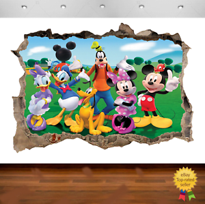 Mickey Mouse Clubhouse 3d Smashed Wall View Sticker Poster Vinyl  683