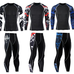 Mens-Athletic-Workout-Sport-Suit-Compression-Long-Sleeve-T-shirts-Running-Pants