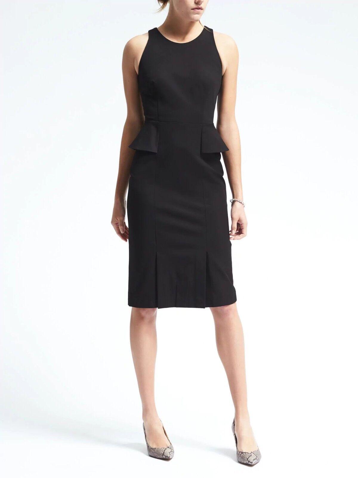 Banana Republic Bi-Stretch Side-Peplum Sheath Dress, schwarz Größe 6   v926