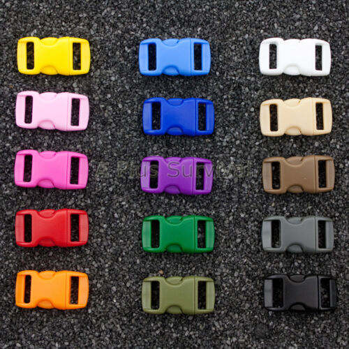 """Lot of 800 Colored 3//8/"""" Curved Quick Release Buckle Paracord Survival Bracelets"""