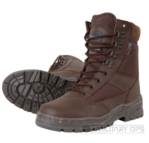 ARMY HALF LEATHER COMBAT PATROL BOOT BROWN CADET MTP SAS NEW WITH TROUSER TWISTS