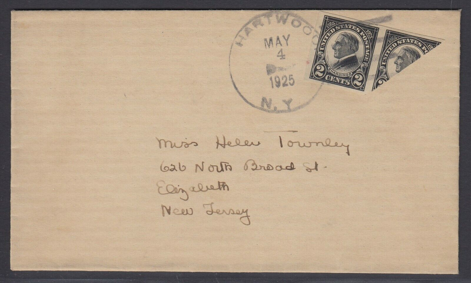 US Sc 611 - 1925 Diagonal BISECT on cover from Hartwood NY to Elizabeth NJ