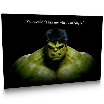 The Hulk Marvel /'Angry/' Quote/' 001 Framed Canvas Print