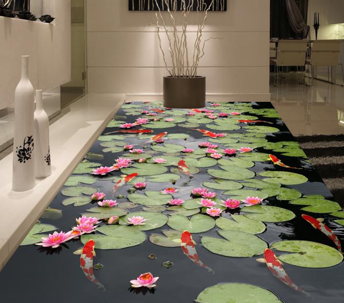 3D Lotus Fluss 57 Fototapeten Wandbild Fototapete Tapete Familie DE Lemon