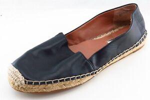 Halogen-Espadrille-Flats-Black-Leather-Women-Shoes-Size-8-Medium-B-M