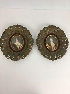 Vintage-Cameo-Creation-Small-Framed-Victorian-Lady-Portrait-Art-Set-of-2-Velvet
