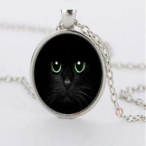 Fashion Jewellery Womens Cute Black Cat Green Eyes Cabochon Silver