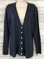 Yansi Fugel Indigo Blue Heather Soft Cotton Cardigan Sweater Size Small