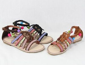 8bd7339795c2 New Design Women Sandals Tribal Style Strappy Pom Pom Sandals Cute ...