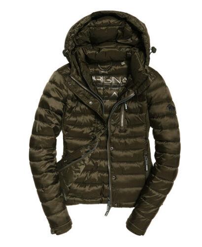 £90 Hooded Zip Rrp Olive Luxe Jacket Fuji Womens Metallic Superdry Coat pT4qPWyC