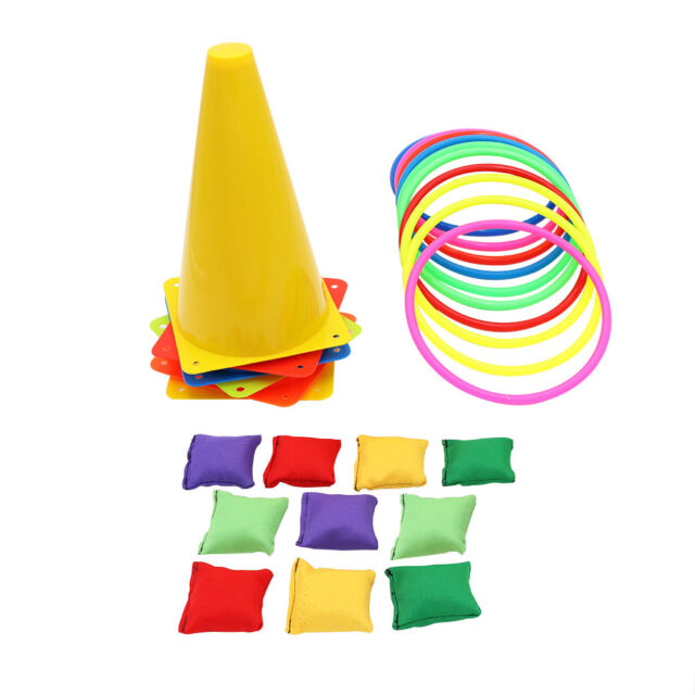 Traffic Cone Ring Toss Games Quoits Throw Hoop Gifts Kids Birthday Party Game