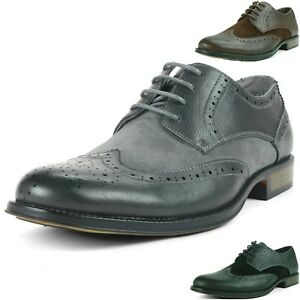 Alpine-Swiss-Zurich-Men-039-s-Wing-Tip-Dress-Shoes-Two-Tone-Brogue-Lace-Up-Oxfords