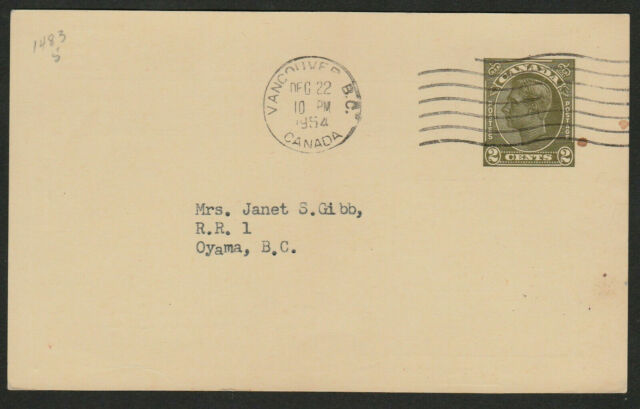 Canada Postal Stationery Card #P69 - 1954