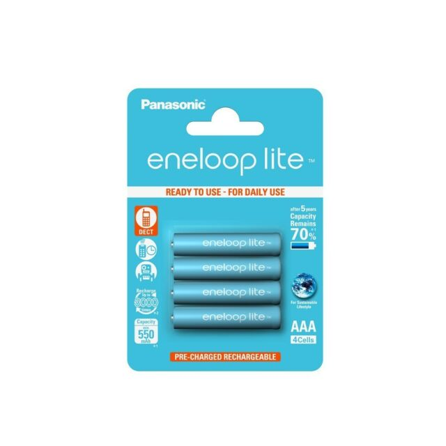 4x AAA R3 Panasonic Eneloop Lite 3000x Rechargeable Battery 550mAh 1.2V NK035 GB