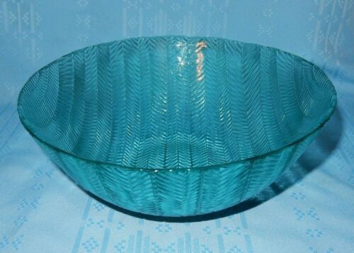 "1 Arcoroc France Jardiniere l Aqua Herringbone 8 78"" Serving Salad Bowl Dish"