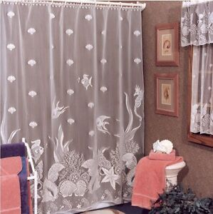 white lace shower curtain. Image Is Loading White-Lace-Shower-Curtain-Beach-House-Seascape-Bathroom- White Lace Shower Curtain O