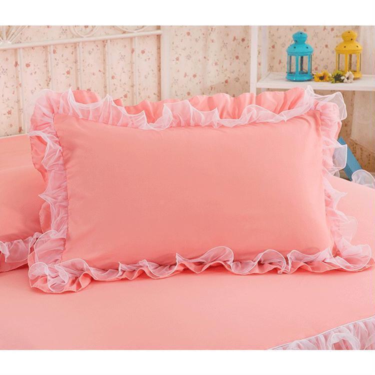 Pillowcase Handmade Ruffle Wrinkle Bedding Decorative Pillowcase with Lace 2Pcs