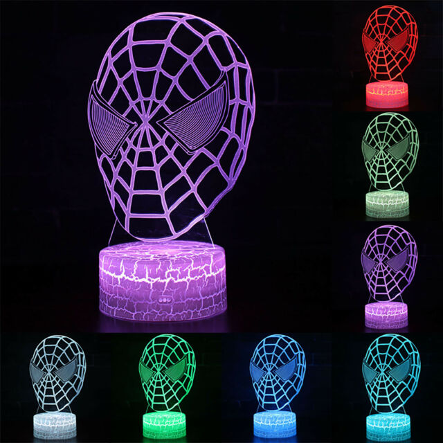 Spiderman Mask 3D illusion LED Night Light 7 Color Touch Table USB Lamp Kid Gift