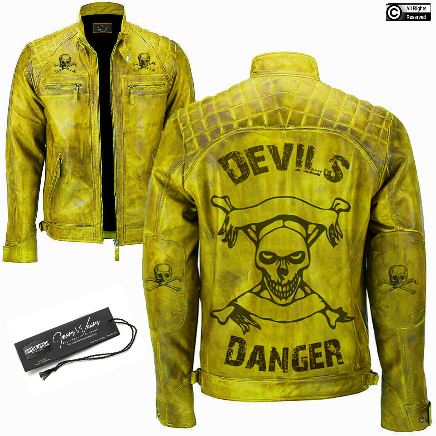 herren Devil Design Vitange Biker Motorcycle Distressed Genuine leder jacke NEW