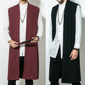 Mens-Vintage-Sleeveless-Causal-Waistcoat-Long-Dress-Open-Front-Vest-Long-Capes