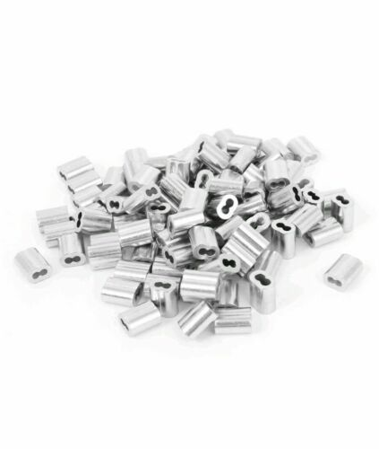 5//64 Inch Aluminum Double Ferrules 100 Pack Snare Cable Trapping Supplies