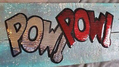 XXL Schlange Patch Aufbügeln DIY Flicken Bügelbild Pailletten rot weiß schwarz