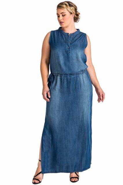 Standards & Practices Plus Size Womens Tencel Denim Sleeveless Henley Maxi  Dress