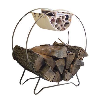 Natural Minimalist Woven Grass Fire Wood Holder Metal Teardrop Log Classic
