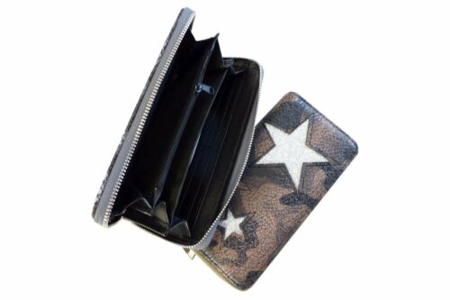 Damen Portemonnaie Geldbörse Glitzer Stern Geld Börse LP427//408