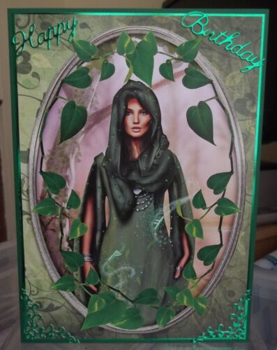Handmade Pagan Autumn  Happy Birthday Card with a lady cloaked in green /& ivy
