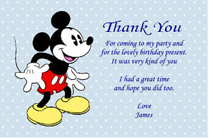 10 Personalised Mickey Mouse Thank You Cards Ebay