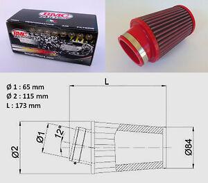 FILTRE-A-AIR-BMC-BIG-MODEL-CONIQUE-COUDE-A-12-65-mm-FLAT-TRACK-TRACKER
