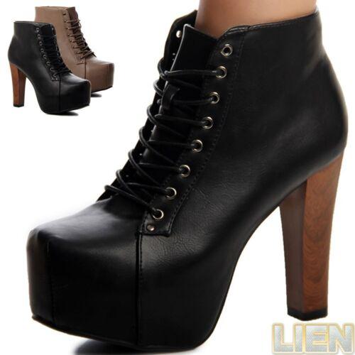 Damen Plateau Stiefeletten Pumps High Heels Ankle Boots Sky Heels