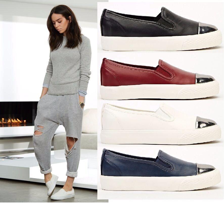Womens Black Cap White Blue Wine Shoes Cap Black Toe Skate Sneakers Flat Slip On Trainers 4a3801