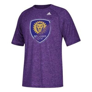 Purple adidas MLS Men/'s Orlando City SC Climalite 3-Stripe Coaches Polo