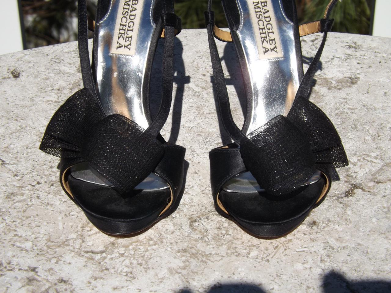 Badgley Mischka Black Black Black Satin Slingback Bow Platform Heels 6 M a579c6