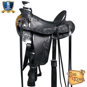 13 14 15 16 17 18 In Western Horse Wade Saddle Leather Ranch Roping Black U-76BK