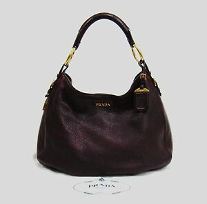 10d68e85e31bbc ... low price image is loading prada burgundy leather zippers hobo bag  0ea49 12c48